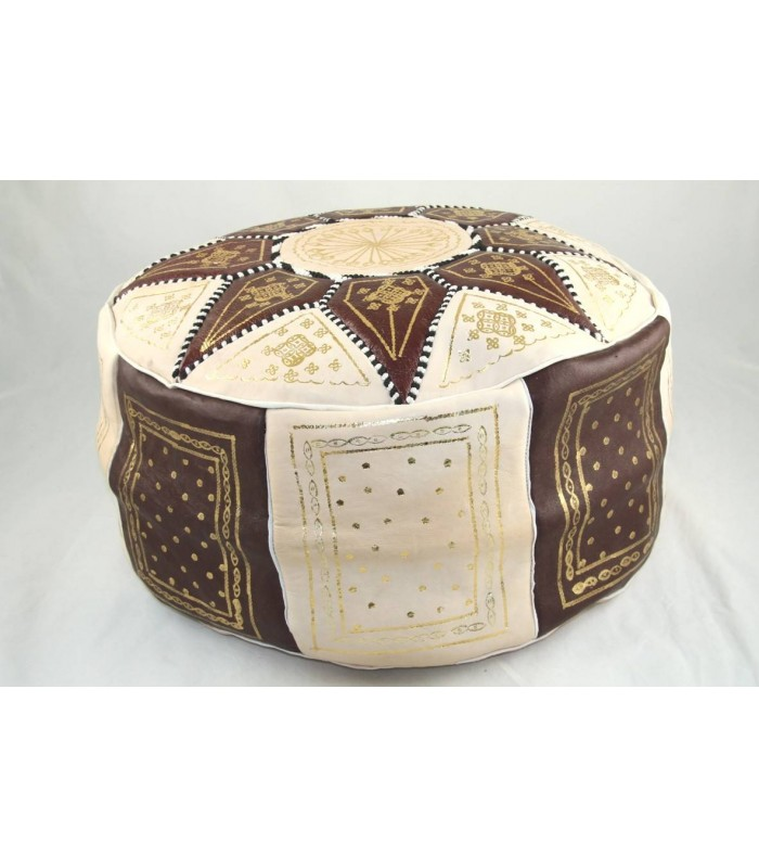 pouf marocain en cuir pouf marocain beige et marron fon c144. Black Bedroom Furniture Sets. Home Design Ideas