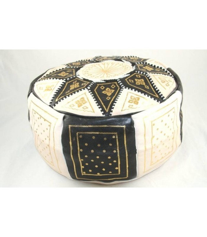 pouf marocain blanc et noir c157. Black Bedroom Furniture Sets. Home Design Ideas