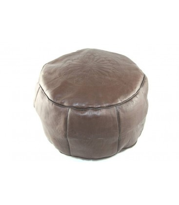 pouf marocain en cuir pouf marocain marron c148. Black Bedroom Furniture Sets. Home Design Ideas